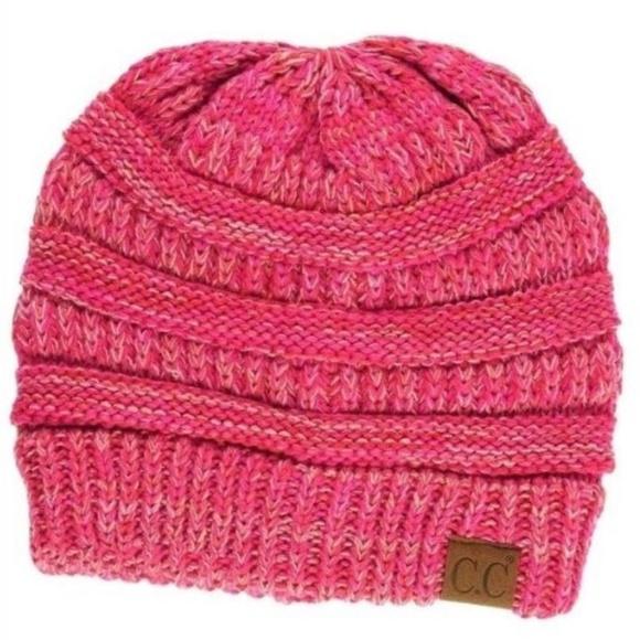 672591263 🆕Hot Pink C.C Beanie 4 tone multi knit beanie Boutique